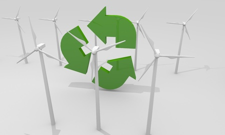 Renewable energy image with wind turbines photo