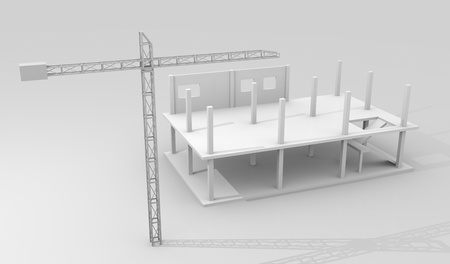 architectural rendering: Construction concept image with a crane and building under construction