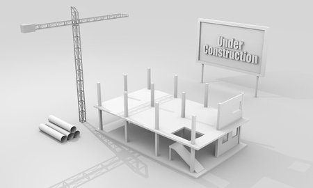 Construction concept image with a crane and building under construction photo