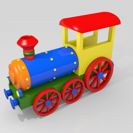 steam locomotive: Toy train, 3d image of a colorful locomotive