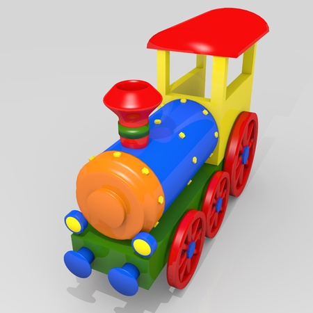 Toy train, 3d image of a colorful locomotive photo