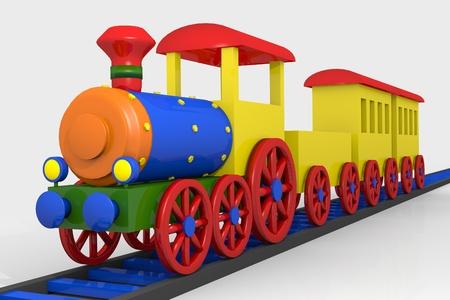 tren caricatura: Tren de juguete, imágenes en 3D de una locomotora de colores, los vagones y el ferrocarril Foto de archivo