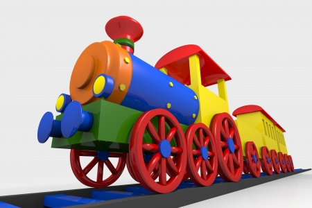 playthings: Toy train, 3d image of a colorful locomotive, wagons and railroad