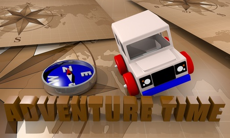 Toy car for adventure time playing with a compass and world map photo