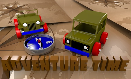 Toy cars for adventure time playing with a compass and world map photo