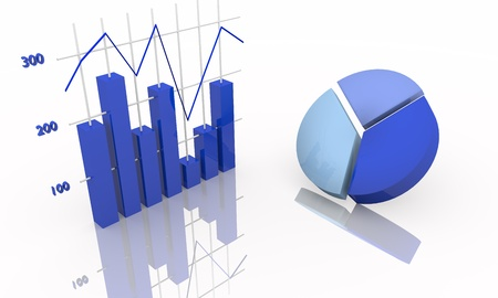 statistics icon: Background with diagram, blue tones Stock Photo