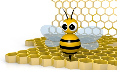 Bee with honeycombs, 3d rendering cartoon style photo