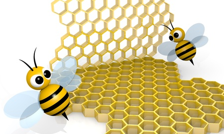 Bee with honeycombs, 3d rendering cartoon style Stock Photo - 12549017