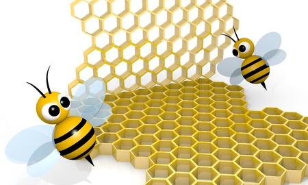 honey comb: Bee with honeycombs, 3d rendering cartoon style