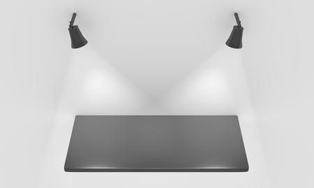 Empty shelf for exhibit with lights Stock Photo - 12549014