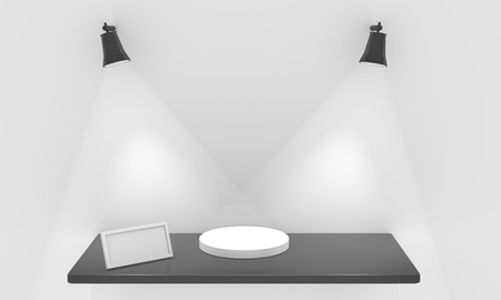 Empty shelf for exhibit with lights, blank frame and pedestal Stock Photo - 12549020