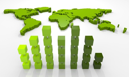 financial world: Background with bar chart and world map