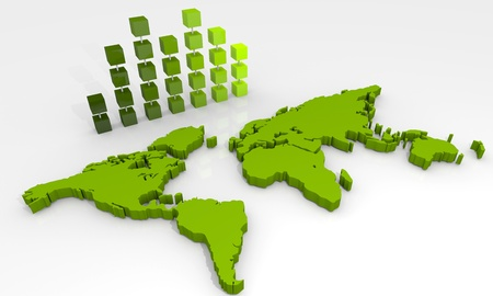 Hintergrund mit Balkendiagramm und Weltkarte Standard-Bild - 12819541