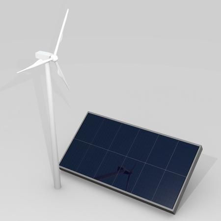 windturbine: Renewable energy image with wind turbine and photovoltaic panels