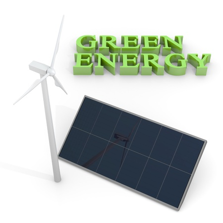 wind icon: Renewable energy image with wind turbine and photovoltaic panels