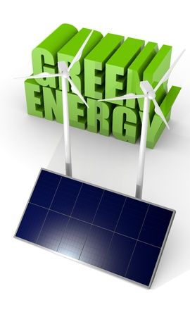 photovoltaic panel: Renewable energy image with wind turbine and photovoltaic panels