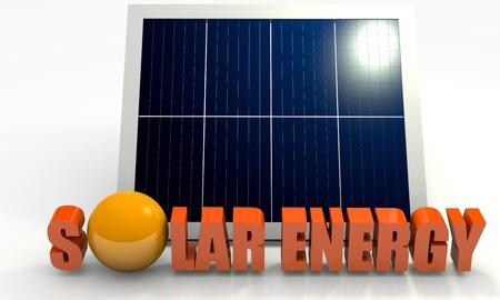 solar cells: Renewable energy image with solar panel on white background