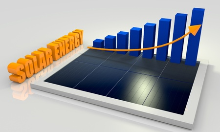 photovoltaic panel: Solar energy image with photovoltaic panel and bar chart