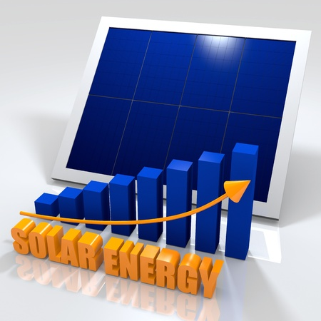 Solar energy image with photovoltaic panel and bar chart photo