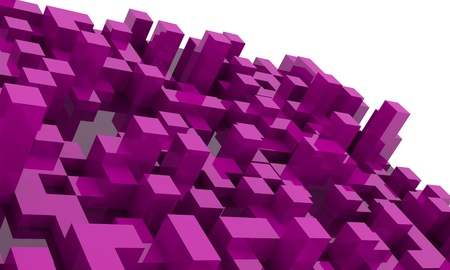 vanishing: Abstract purple  background with 3d cubes, vanishing point