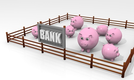 confiscation: Concept of bank with some piggy banks in a paddock