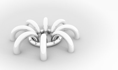 Abstract background, 3D image with chrome rings like stylized spider Stock Photo - 13274117