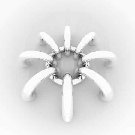 Abstract background, 3D image with chrome rings like stylized spider Stock Photo - 13274106