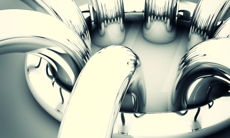 Abstract background, 3D image with chrome rings Stock Photo - 13274119
