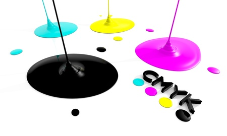 cmyk abstract: CMYK liquid inks spilling, 3D render image