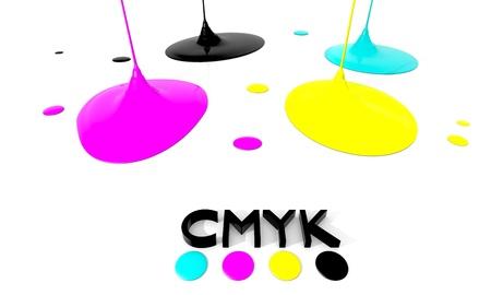 offset printing: CMYK liquid inks spilling, 3D render image