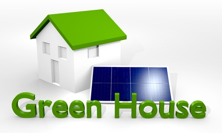 solar panel house: Green House with photovoltaic panels, solar energy