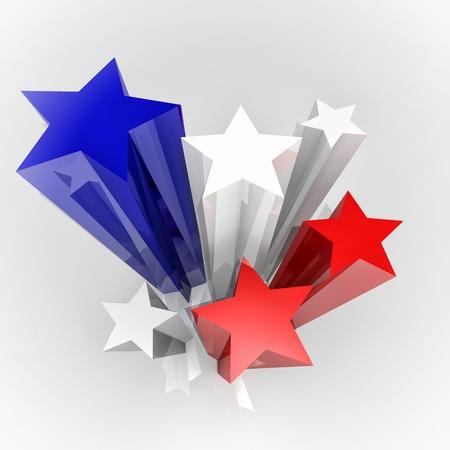 bandera de paraguay: Seis estrellas con Francia colores de la bandera, la imagen 3D Foto de archivo