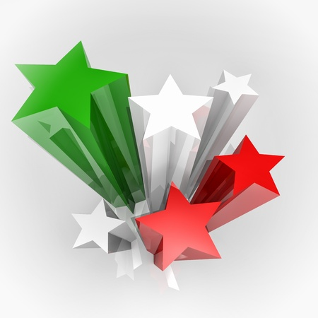 mexico flag: Six stars with Italy colours flag, 3D image