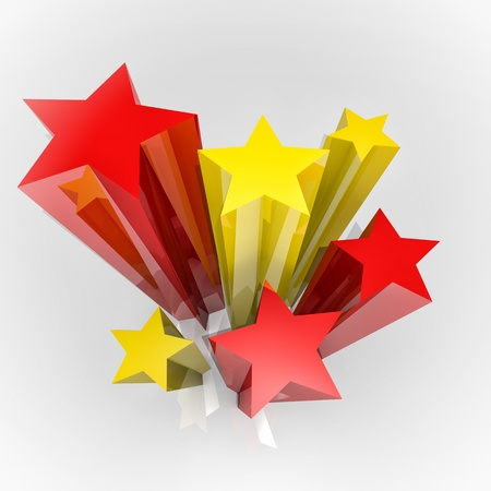 flag spain: Six stars with Spain colours flag, 3D image Stock Photo