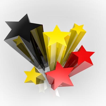 belgie: Zes sterren met Duitsland kleuren vlag, 3D-beeld