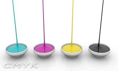 spilling: CMYK liquid inks spilling, 3D render image