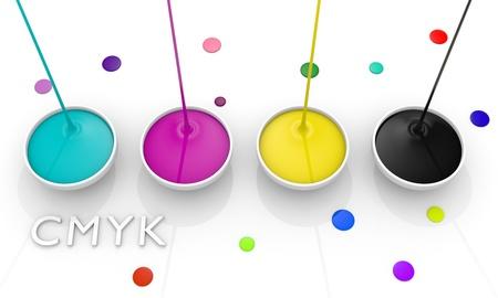 CMYK liquid inks spilling, 3D render image photo