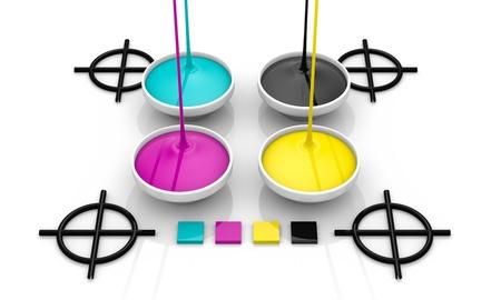 offset printing: CMYK liquid inks spilling and targets cross, 3D render image