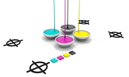 offset: CMYK liquid inks spilling and targets cross, 3D render image
