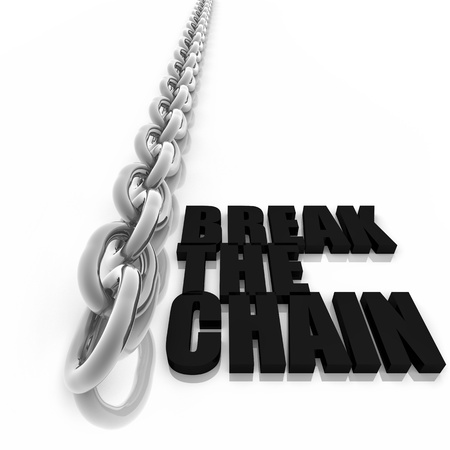 Chromed metal chain and message on white background, freedom concept image Stock Photo - 13496101