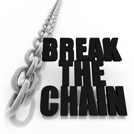 Chromed metal chain and message on white background, freedom concept image Stock Photo - 13496105
