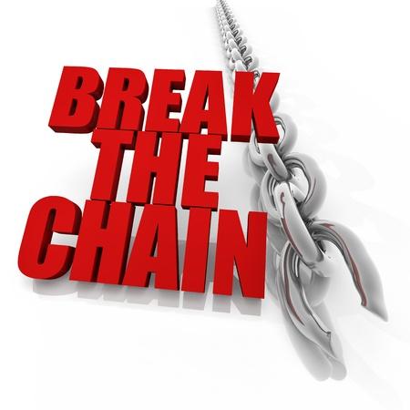 cadena rota: Cadena de cromo roto en el fondo blanco, la imagen de la libertad de concepto Foto de archivo