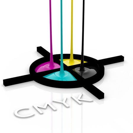primary colours: CMYK liquid inks spilling and registration marks, 3D render image