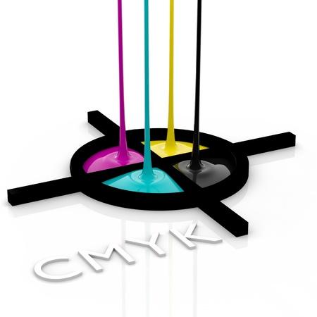 CMYK liquid inks spilling and registration marks, 3D render image