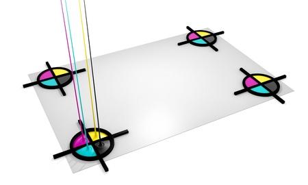offset printing: CMYK liquid inks spilling and registration marks, 3D render image