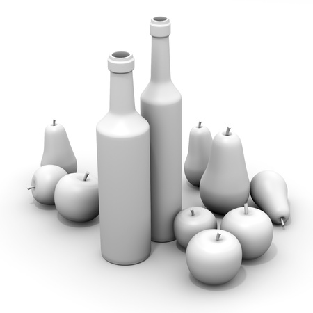Still life composition with bottles, apples and pears, white material photo