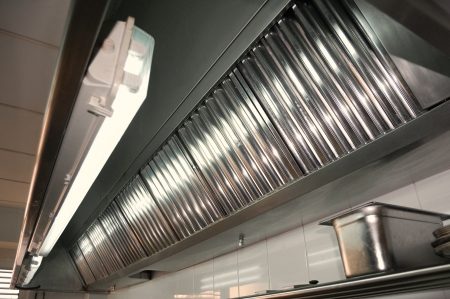 exhaust: Exhaust systems, hood filters detail in a professional kitchen