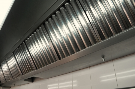 Ventilation: Exhaust systems, hood filters detail in a professional kitchen