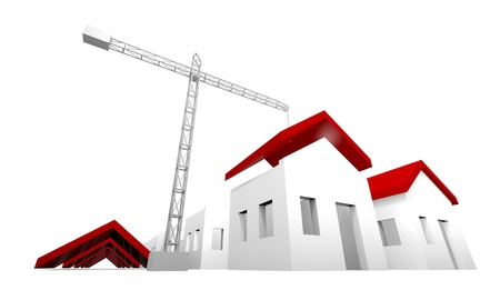 White houses under construction with crane Stock Photo - 13691690