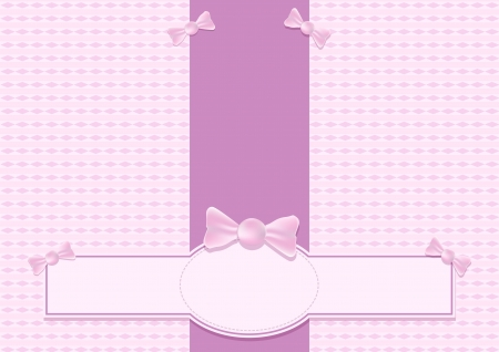 Pink brochure with candies, bow and label Vector